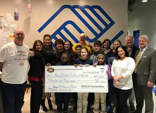 UNICO National Scranton Chapter donated $13,000 to the Boys/Girls Clubs of North Eastern Pennsylvania.
